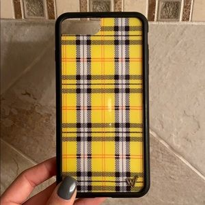 Yellow plaid Wildflower iPhone 6/7/8+ case